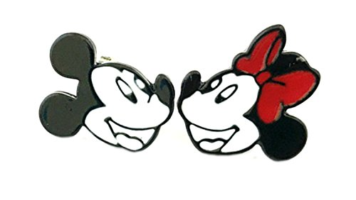 Mickey Mouse Minnie Mouse Disney Post Stud Enamel Earrings TV Comics Movies Cartoon Superhero Logo Theme Premium Quality Detailed Cosplay Jewelry Gift Series by Superheroes Brand (Minnie Mouse Green Ears)