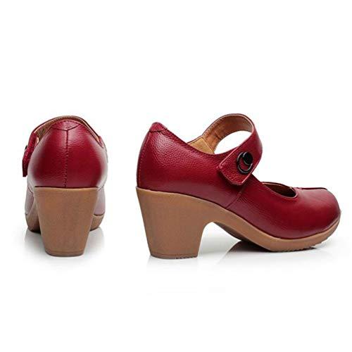 Damas Plataforma Informal Otoño Punta Zapatos Cuñas Plana Boca Rojo Mujer Calzado Gladiador Primavera Baja Redonda PxqABAda
