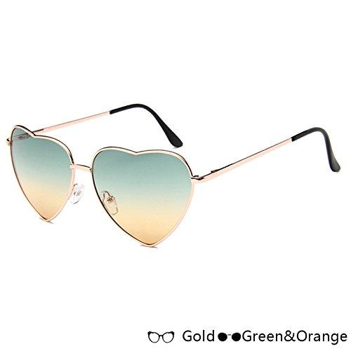 En TIANLIANG04 Sol Sol Mujer Oro Green Forma Moda Gold De Rosa Atrás De Lujo De De W W Gafas Orange Gafas Azul De Corazón FtqZSt4rxw
