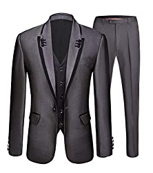 Men's Fashion Grey 3 Pieces Suits One Button Slim Fit Wedding Suits Groom Tuxedos Dinner Suits