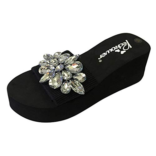 Womens Wedges Sandals, Casual Sexy Crystal High Heel Platform Sandals Slippers Beach Shoes Size 5-8 (White, US:6)