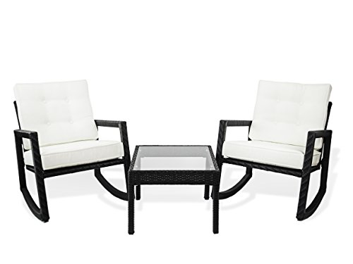 Patio Resin Outdoor Rattan Wicker Garden Rocking Lounge Set. 2 Rocking Chairs and End Coffee Table.Black Color