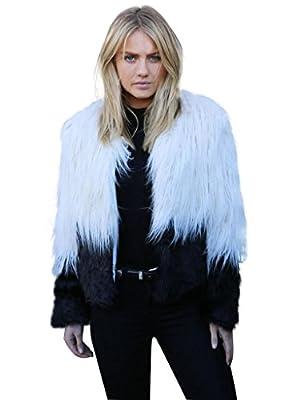 Choies Women's Two Tone Shaggy Faux Fur Coat