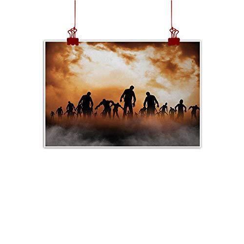 (Davishouse Halloween Modern Oil Paintings Zombies Dead Men Walking Body in The Doom Mist at Night Sky Haunted Theme Print Canvas Wall Art 28