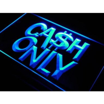 (11.8inch x 7.8inch Cash Only Cashier Shop Cafe LED Neon Light Sign for your Store Neon Sign Corded-Electric - Blue Color )