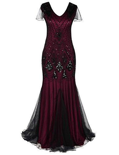 Vintage Style Formal Dresses - kayamiya Women 1920s Long Prom Gown Sleeves Sequin Formal Evening Dress L Burgundy