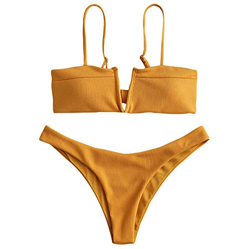 ZAFUL Women's V-Wire Padded Tie Knot Back Ribbed Two Piece Bikini Set Swimsuit (Bee Yellow, M)