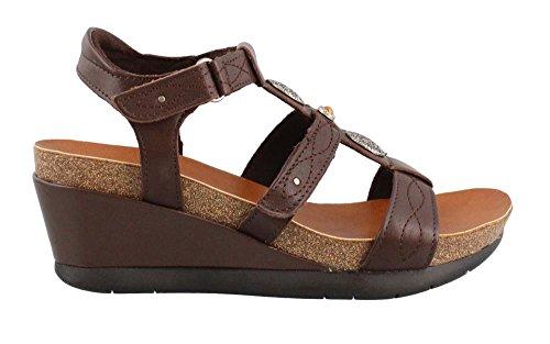 Chocolate Leather Footwear - Minnetonka Women's Della Chocolate Leather Sandal