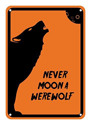 Werewolf Fangs In Coffin (Reflective Aluminum Halloween Sign