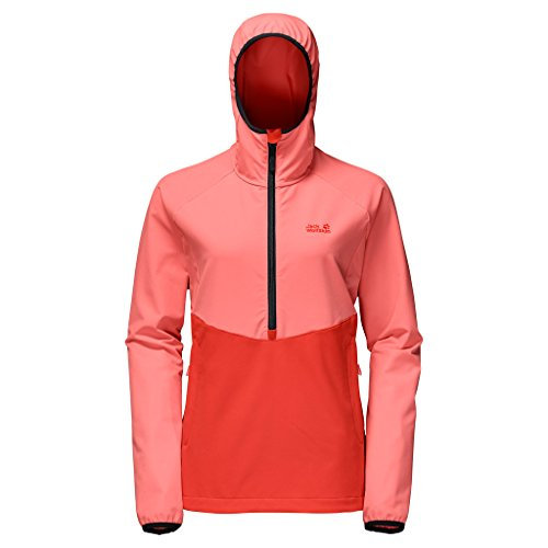 Jack Wolfskin Womens/Ladies Turbulence Smock Half Zip Softshell Top Flamingo