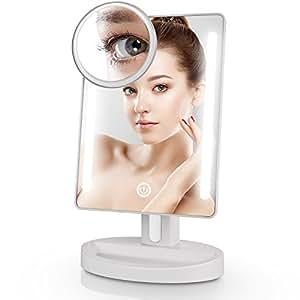 Miusco Espejo De Maquillaje Con Iluminación Led, Interruptor táctil Espejo Espejo, Espejo Espejo Iluminado, Rectángulo Espejo De Mesa, 15X De Bolsillo Espejo