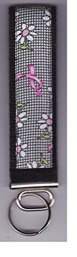 Breast Daisies (Breast Cancer Awareness Ribbon Daisy Black White Wristlet Keychain Fob)