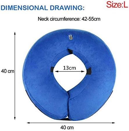 Frifer Collier Gonflable de Récupération Collerette de Protection Ajustable Cône de Cicatrisation Confortable pour Chien (L)