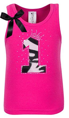 Bubblegum Divas Baby Girls 1st Birthday Pink Zebra Print Animal Shirt 18mos