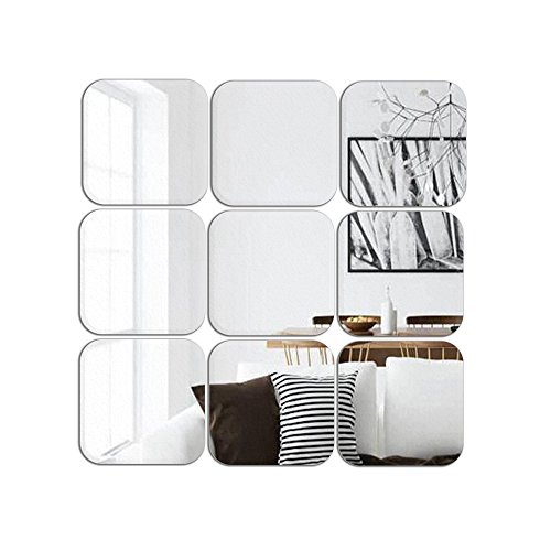 ATFUNSHOP Square Mirror Wall Stickers 6inch 9pcs Removable Acrylic Mirror Wall (Acrylic Square Mirror)