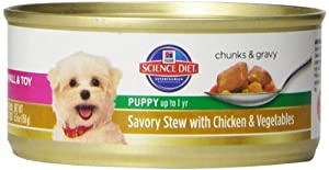 Hill's Science Diet Puppy Small & Toy Savory Stew Chicken & Vegetables Wet Dog Food, 5.5-Ounce Can, 24-Pack