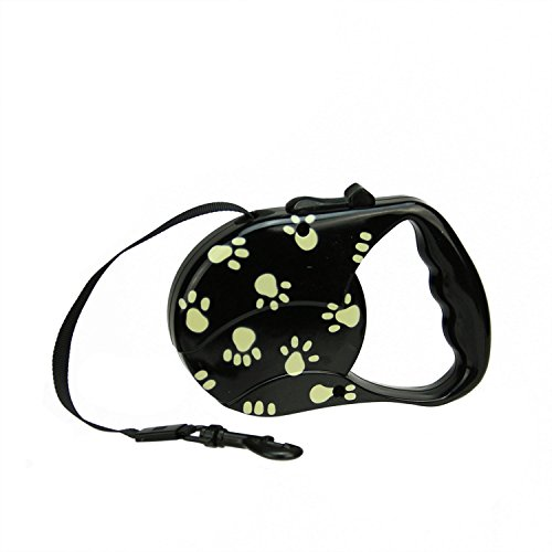 - Black and Beige Paw Print Patterned Retractable Dog Leash - 33 Pound Limit