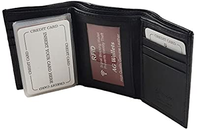 AG Wallets RFID Signal Blocking Genuine Leather Trifold Wallet for Men (Black)