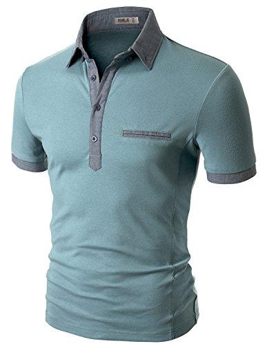 Doublju Men Comfy Pocket Point Slim Fit T-Shirt BLUE,3XL