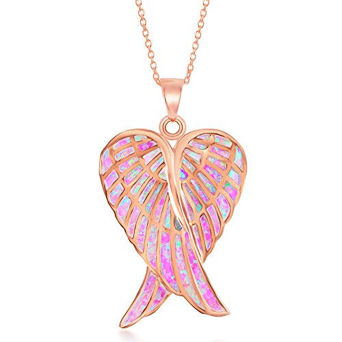(Beaux Bijoux Sterling Silver Double Angel Wings Heart/Silver or Rose Tone Created Blue or Pink Opal Angel Wings 18