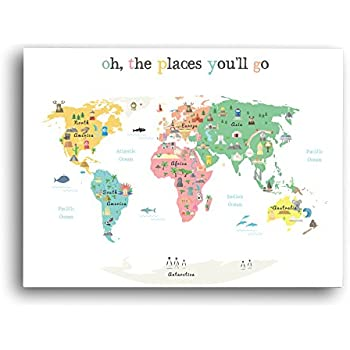 Amazon world map wall art oh the place youll go travel map world map wall art oh the place youll go travel map gumiabroncs Image collections