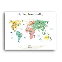World Map Wall Art, Oh the Place You'll Go, Travel Map, World Map Print, Wall...