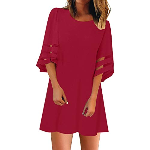 Sttech1 Women's Round Collar 3/4 Bell Sleeve Loose Top Shirt Dress Mesh Panel Blouse Gauze Dress ()
