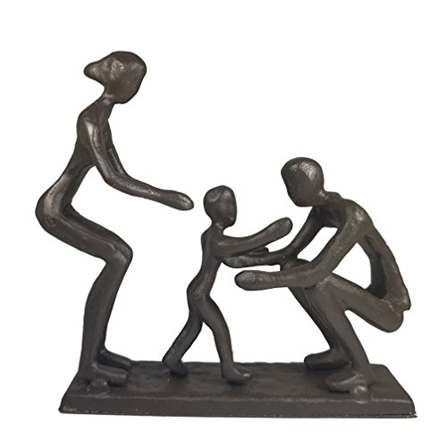 - DreamsEden Rustic Family Figurines, Cast Iron Art Home Decoration Statue with Gift Card for Anniversary Birthday (Family of Three)