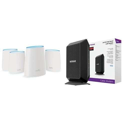 NETGEAR Orbi Home WiFi System. AC2200 Tri-Band Home Network (RBK44) with NETGEAR CM700 (32x8) DOCSIS 3.0 Cable Modem. Certified for XFINITY by Comcast, Time Warner Cable, Charter (CM700) by NETGEAR