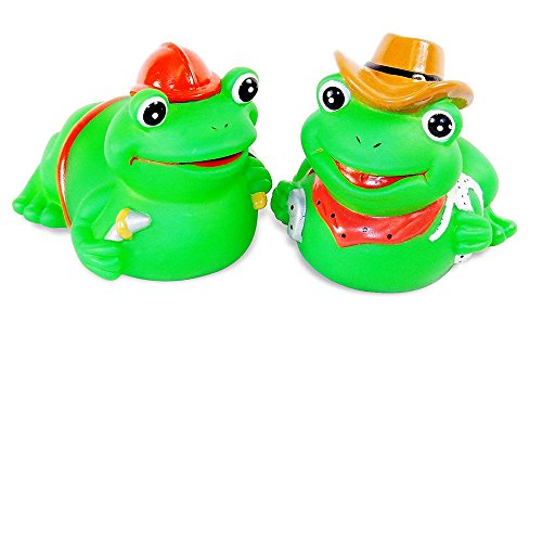 Pair of Frogs Squeaky Squeeze Toys - For Kid's Bath or Doggie Play Toy. ()