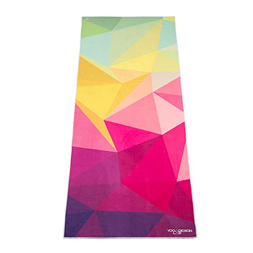 Geo Hot Yoga Towel. Eco-friendly, Lightweight, Insanely Absorbent, Non-slip, Microfiber, Dries in Minutes. Ideal for Bikram, Hot Yoga/Pilates. Machine Washable. Printed w/ Water Based Inks.