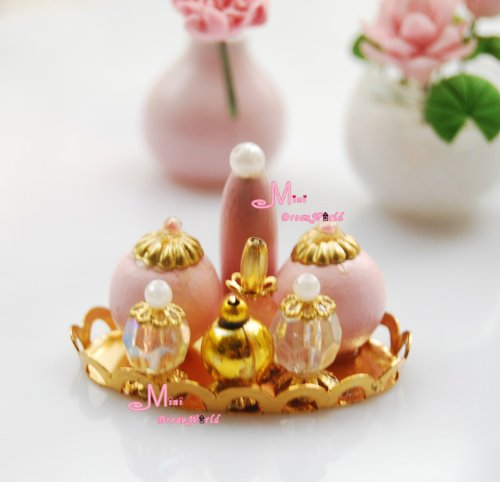 1/12 Dollhouse Miniature Gold Tray Pink Perfume Set