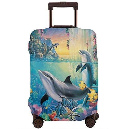 Travel Luggage Cover Suitcase Protector Spandex Washable Zipper Baggage Covers Beautiful Dolphin Show Ocean Painting Fits 18 To 32 Inch -