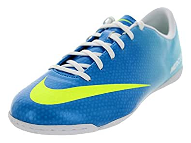 Nike Junior Mercurial Victory IV Indoor Cleats,Neptune Blue/Volt/ Tide Pool Blue/Pink Flash,5 M US Youth