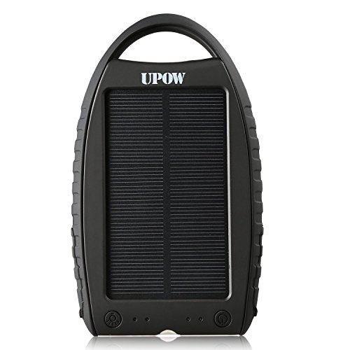 Upow 7000mAh Solar Power Bank Dual USB Port Portable Charger Solar Battery Charger Backup Battery Fits most...