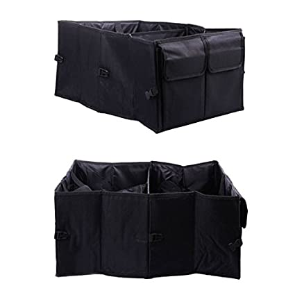 Quaanti Large Trunk Organizer for SUV Car Heavy Duty Durable Car Chest Organizer Caddy for Seat and Storage,Collapsible Cargo Storage Bag Bin Black Auto Foldable Portable Trunk Organizer Truck