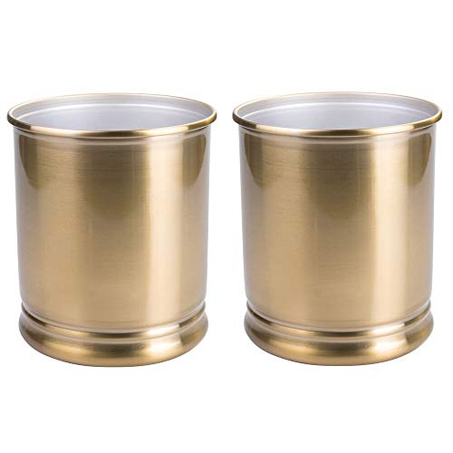 mDesign Decorative Metal Round Small Trash Can Wastebasket, Garbage Container Bin - for Bathrooms, Powder Rooms, Kitchens, Home Offices - Durable Solid Steel, 2 Pack - Soft Brass