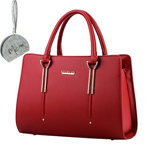 Micom 2015 Summer Womens Pure Color Pu Leather Boutique Tote Bags Top Handle Handbag