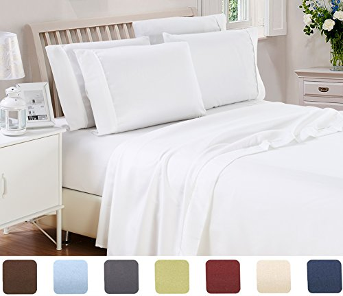 Casual Elegance Collection (6 Piece Lux Decor Bed Sheets Set King Size, HOTEL LUXURY Brushed Microfiber Flat Sheet, Fitted Sheet with 4 Pillow Cases,Deep Pockets, Stain Resistant, Soft & Extremely Durable (King , White))