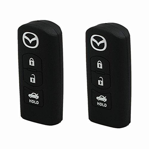 Silicone Protective Key Holder Protecting Bag Key Cover Key Jacket Key Case Cover Fob Skin Key Holder For Mazda Cx 5 Cx 7 Cx 9 Mazda 3 5 6  2Pcs Black