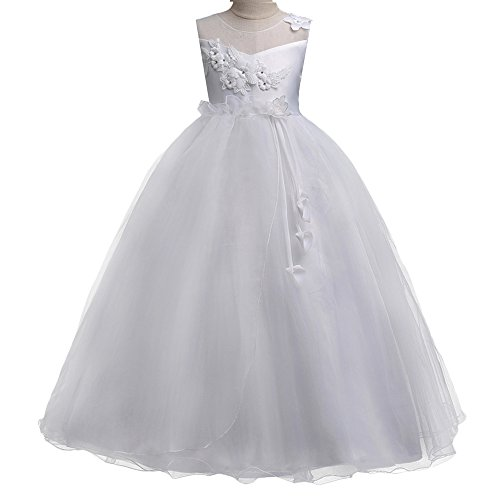 HUANQIUE Girls Wedding Bridesmaid Dresses Flower Girl Pageant Maxi Gowns White 7-8 Years