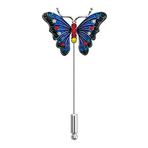 Multi Color Butterfly Brooch (DMI Unique Jewelry Alloy Multi-Color Crystal Butterfly Insect Lapel Brooch Pin Blue)
