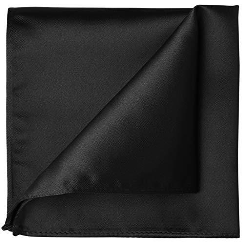 KissTies Solid Black Satin Pocket Square Mens Handkerchief