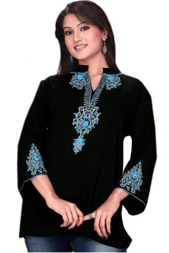 Jayayamala Noir Élégant Tunique de femmes avec du fil bleu brodé dames chemisier noir usure du parti