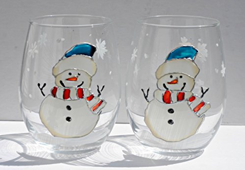 (Blue Hat Snowman (Set of 2) Hand Painted Stemless Wine Glasses, Holiday Kitchen Decor )