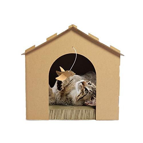 Furhaven Pet Cat Furniture | Corrugated Cat Scratcher Cardboard Gingerbread House Condo Hideout w/ Catnip for Cats & Kittens, Cardboard (Brown), One Size