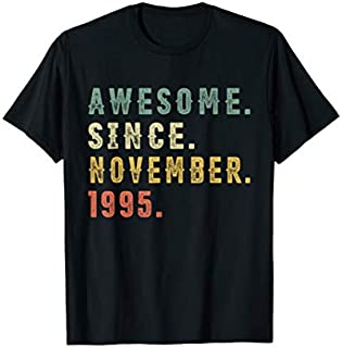 24th Birthday Gifts Vintage Awesome November 1995 24 Yrs Old T-shirt | Size S - 5XL
