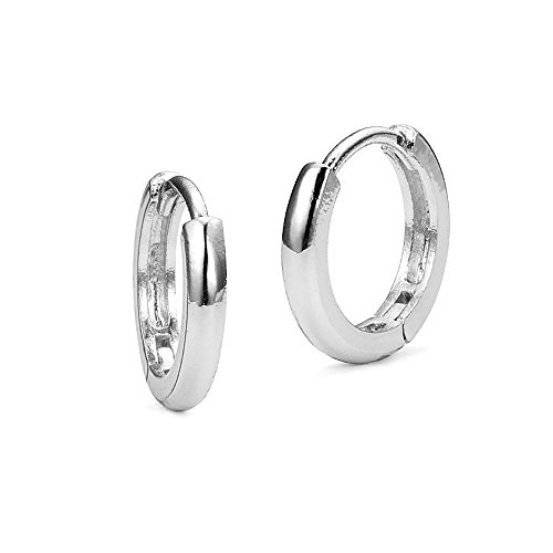 Sterling Silver Rhodium Plated 2mm x 13mm Small Plain Hoop Huggie (Screw Back Hoop Earrings)