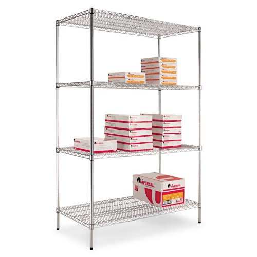 Alera Wire Shelving Starter Kit, 4 Shelves, 36w x 24d x 72h, Silver (ALESW503624SR) by Alera