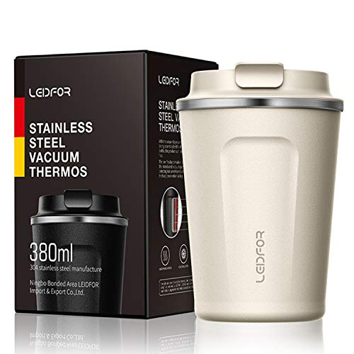 (Insulated Tumbler Coffee Travel Mug Vacuum Insulation Stainless Steel with Lid Leakproof 12oz Cream)
